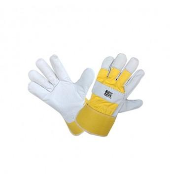 Galvijų odos pirštinės kietu rankogaliu, geltonos, 11 dydis