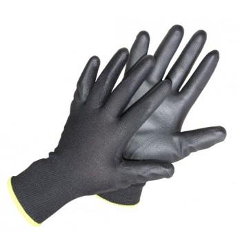 Poliesterinės pirštinės 10 dydis juodos, poliuretano delnu, 12 porų