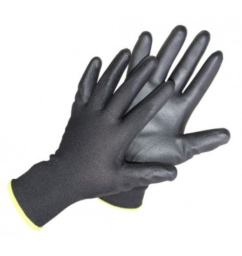 Poliesterinės pirštinės 10 dydis juodos, poliuretano delnu