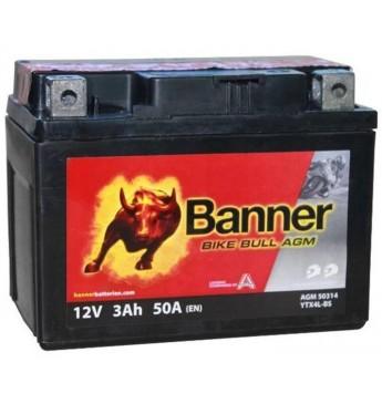 Banner AGM 3Ah 50A Bike Bull akumuliatorius 12V 114x71x86mm