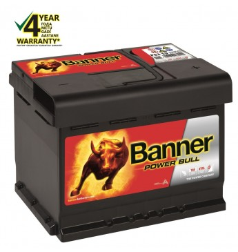 Banner 62 Ah 550A 12V Power Bull akumuliatorius 241x175x190mm