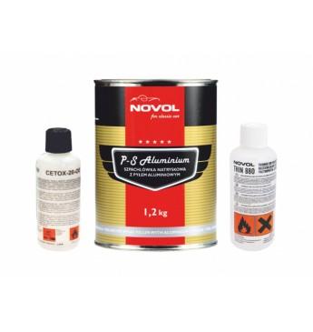 RINKINYS: P-S ALUMINIUM - Purškiamas glaistas su aliuminio užpildu+ skiediklis + kietiklis, 1.2kg