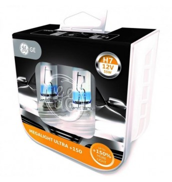 GE lemputės Megalight Ultra +150 H7 12V 55W (komplektas) 93080358