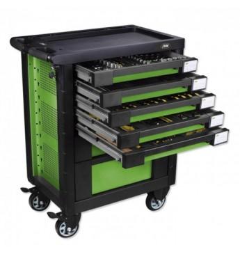 Vežimėlis su įrankiais, 7 stalčiai, žalias