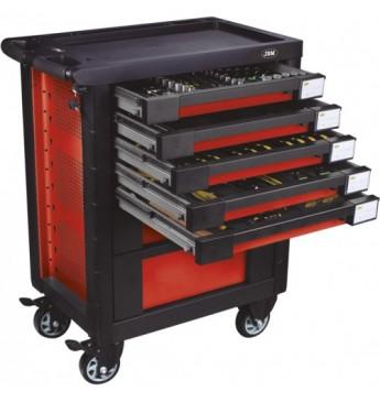 Vežimėlis su įrankiais, 7 stalčiai, raudonas