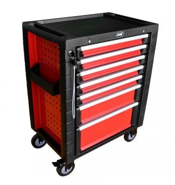 Vežimėlis su įrankiais, 7 stalčiai, raudonas EVA