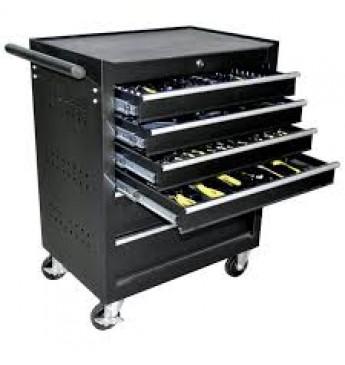 Vežimėlis su įrankiais, 6 stalčiai, juodas